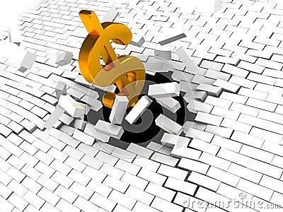 Dollar breaking wall