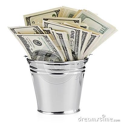 Dollar in bucket