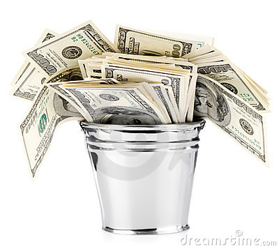 Dollar in bucket