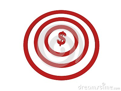 Dollar in centre of target