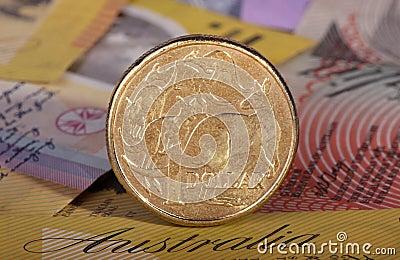 Dollar coin on bank notes