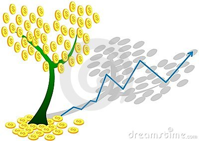 Dollar coin tree and chart