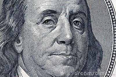 Dollar Currency notes. Detail. Franklin