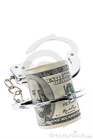Dollar Currency notes with handcuffs