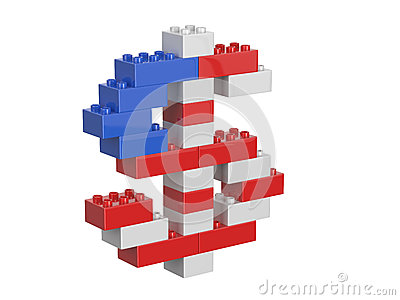 Dollar currency sign consisting of children s toys