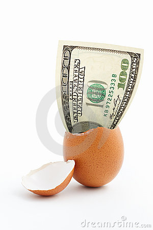 Dollar emerge from egg shell