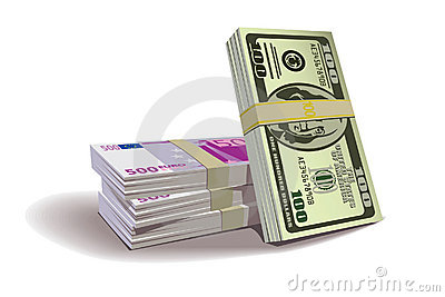 Dollar euro bills vector illustration