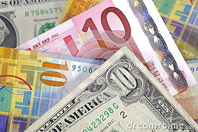 Dollar, euro and franc