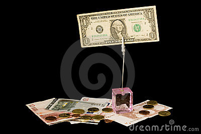 Dollar and euro isolated