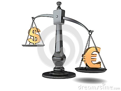 Dollar and euro on scale