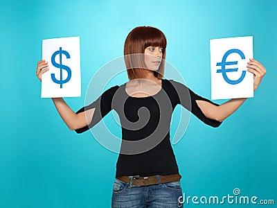 Dollar and Euro symbols