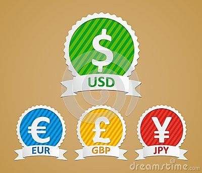 dollar, euro, yen and pound