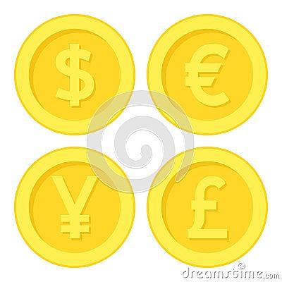 Free Dollar Euro Yen Pound Golden Coin Flat Icon Royalty Free Stock Photos - 91947998