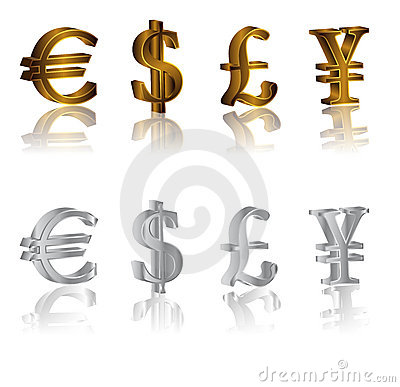 Dollar, euro, yen and pound signs