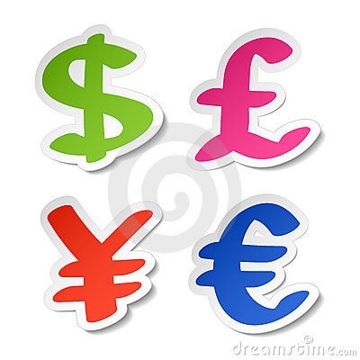 Dollar, euro, yen and pound stickers