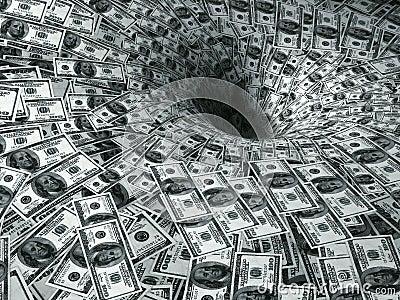 Dollar flow in black hole