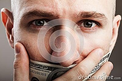 Dollar gag shut voiceless man