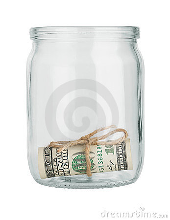 Dollar in a glass jar