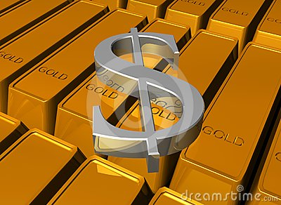 Dollar On Gold Bars Royalty Free Stock Photos - Image: 24458268