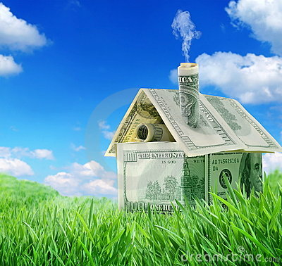 Dollar house in a green grass