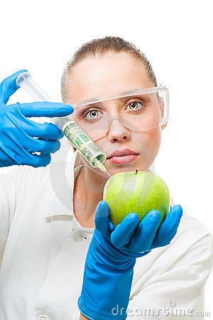 Dollar injection into green apple