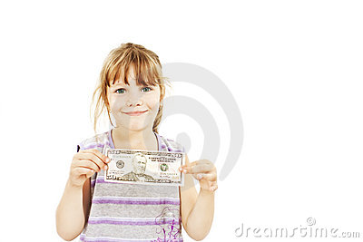 Dollar money little girl showing 50 dollar bill.