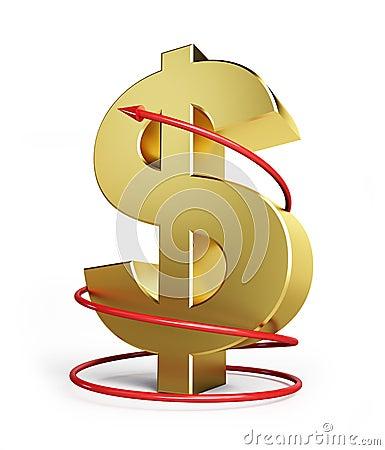 Dollar moving arrow