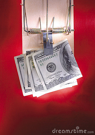 dollar notes in a mouse trap