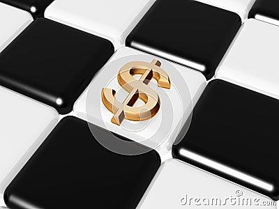 Dollar over chess-board