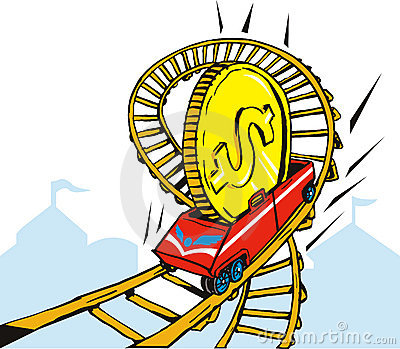 Dollar on rollercoaster ride
