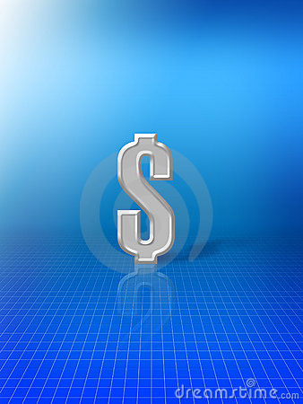 Dollar sign on blue background