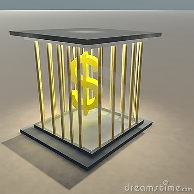 Dollar sign in a cage