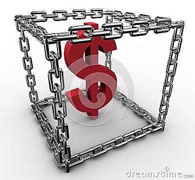 Dollar sign in chain box