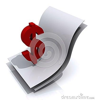 Dollar sign on documents