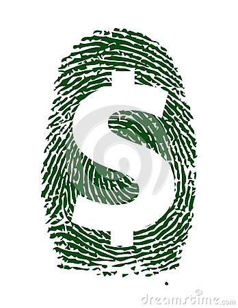 Dollar sign fingerprint illustration design