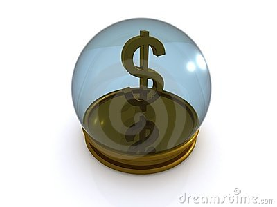 Dollar sign in glass globe