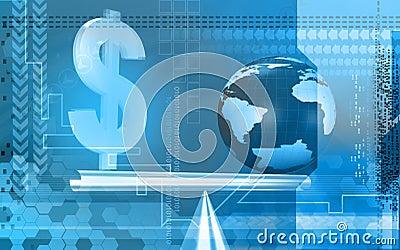 Dollar sign and globe balancing