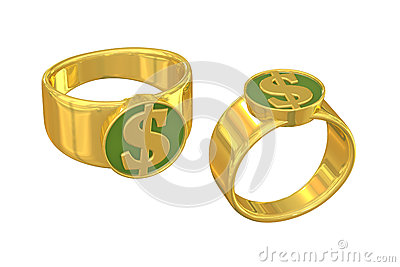 Dollar sign gold ring of wealth