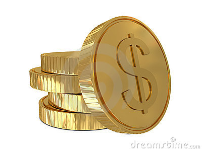 Dollar sign in golden coin