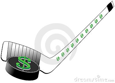 Dollar Sign on Hockey Puck and Stick