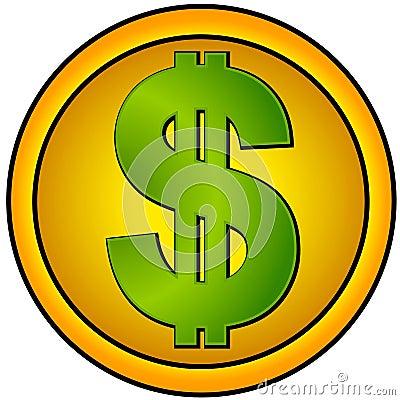 Dollar Sign Icons Gold Circle
