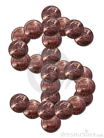 Dollar sign made of coins