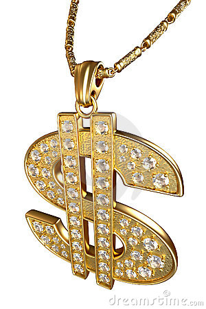 Free Dollar Sign Necklace Royalty Free Stock Image - 9741376