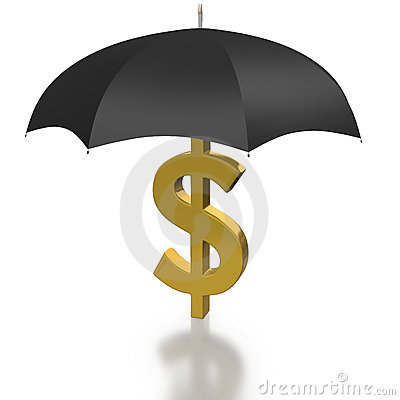 Dollar Sign protected by an Umbrella