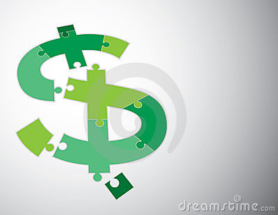Dollar sign puzzle 3D