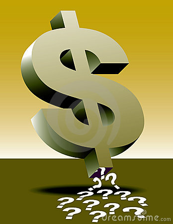 Dollar sign and question marks