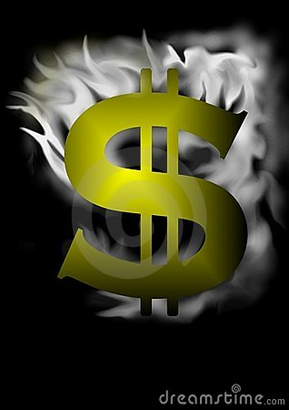 Dollar sign with smoke effect