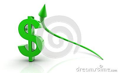 Dollar sign and Up arrow