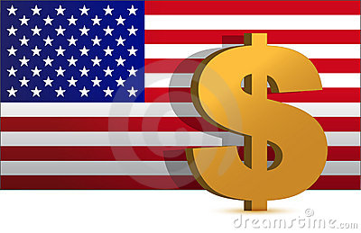 Dollar sign on us flag background - illustration