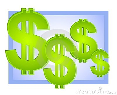 Dollar Signs Background Blue